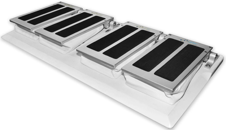 Double Side by Side Flip Up Portable SeaKnees Shock Mitigation Model